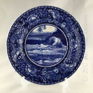 Dark Blue Antique Transferware Plate Whirlpool Rapids Staffordshire