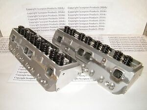 Sbc Aluminum Heads 220cc Runners Angle Small Block Chevy 350 383 Free Shipping