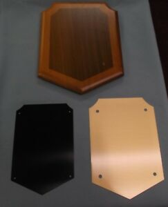 Lot Of 3 Trophy Parts 8x10 Black Laser Plate Plaque Solid American Walnut P475