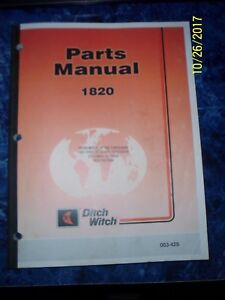 Ditch Witch 1820 Trencher Parts Manual