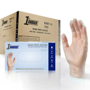 1st Choice Clear Exam Vinyl Latex Free Disposable Gloves case Of 1000