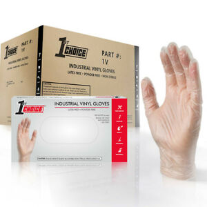 1st Choice Clear Vinyl Industrial Latex Free Disposable Gloves case Of 1000