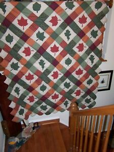 Quilt Hand Stitched With Autumn Leaves Appliqued Warm Fall Colors 70 X84