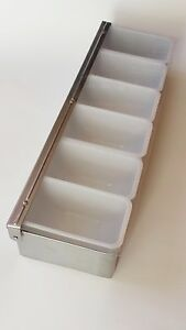 Bar Caddy Condiment Dispenser Tray Stainless Steel Base 6 Comp Inserts Winco