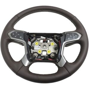 84053918 Steering Wheel Heated Cocoa Leather New Oem Gm 2014 17 Silverado 1500