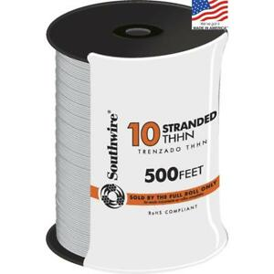 Southwire 500 ft 10 awg Thhn Stranded White Cable Conductor Electrical Wire New