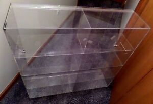 Plastic Acrylic Case Shelves Sliding Back Door 32x32x9 15 Acrylic 2 Risers