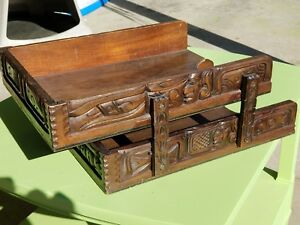 Vintage Wooden Desk Paper Organizer Made In Hondarus