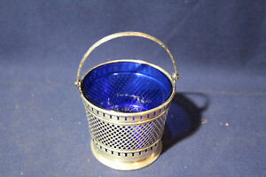 Rare Antique George Henckel Sterling Silver Pierced Basket W Cobalt Insert Nice