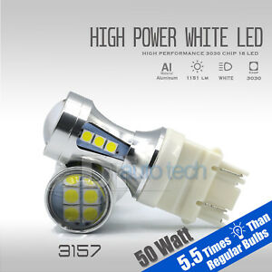 2x 50w 3157 3156 Led 6000k White Reverse Backup High Power Light Bulbs