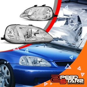 For 99 00 Civic Coupe sedan Chrome clear Replacement Headlight Lamps Pair L r