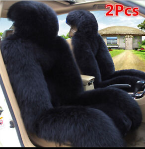 2pc Black Genuine Australian Sheepskin Fur Long Wool Car Front Seat Cover Winter