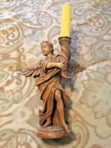 Amazing Late Renaissance Carved Wood Angel Candleholder Ca 1680