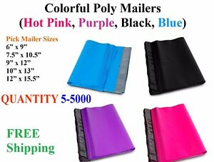 Poly Mailers Shipping Envelopes Self Sealing Plastic Mailing Bags Color All Size