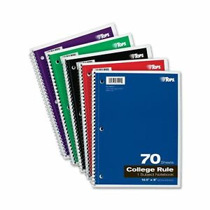 Tops 1 subject Spiral Notebooks College Rule 8 X 10 5 Inches 70 White No Tax