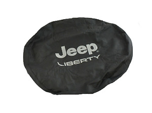 02 07 Jeep Liberty Spare Tire Cover Black Denim With Silver Log Factory Mopar