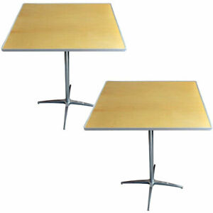 2 Cocktail Tables 36 Square Wood Pub Bar Cafe Bistro Table Adjustable Height