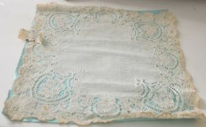 Beautiful Antique 19th C Alencon Lace Wedding Hanky Tt311