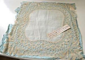 Exquisite 19th C Brussels Point Lace Wedding Hanky Tt310