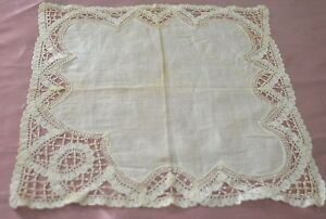 Fabulous Vintage Antique Brussels Lace Linen Wedding Hanky Tt315