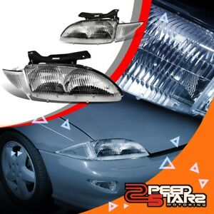 For 95 99 Chevy Cavalier Left right Chrome Headlights clear Bumper Signal Lamp