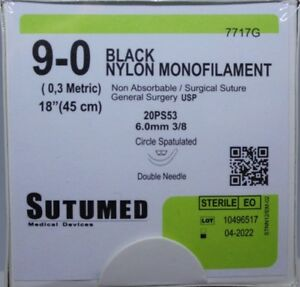 Sutumed Black Nylon Monofilament 9 0 6 0mm Double Armed Suture