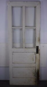 Antique Vintage Door W Glass 29 1 8 X 76 1 2 Hg Local Pickup Needs Work