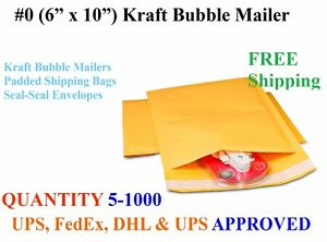 6x10 0 Kraft Bubble Padded Mailers Envelopes Shipping Mailing Bags 6 X 9