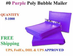 0 6x10 Purple Poly Bubble Mailers Shipping Mailing Bags Envelopes 6 X 9