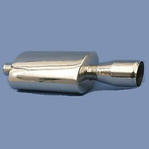 Volt Polish Stainless Steel Oval Muffler 2 25 Inlet Single 4 Angled Tip Out