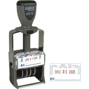 Xstamper Classix Self Inking Dater blue red paid Stamp New 40312