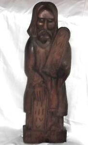 Antique Large 29 Carved Wood Moses The Ten Commandments Wall Hanging Bible