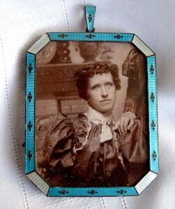 Antique Victorian Sterling Silver Enamel Guilloche Octagonal Photo Frame Turquoi