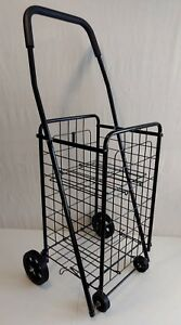 Deluxe Rolling Utility Shopping Cart Sports Storage Grocery Market Trolley