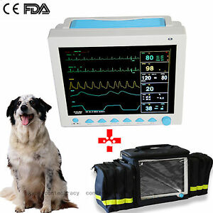 Vet Veterinary Patient Monitor 6parameter ecg nibp pr spo2 temp resp fda bag ce