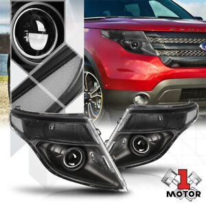 Black Housing Projector Headlight Clear Signal Reflector For 11 15 Ford Explorer