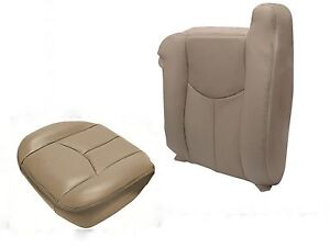 2003 2006 Chevy Silverado Driver Top Lean Back Bottom Leather Seat Neutral Tan