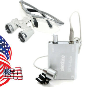 Usa Dental Surgical Medical Loupes 3 5x320mm Glass Magnifier Led Head Light Lamp