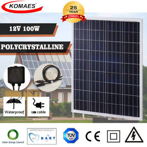 Komaes 100 Watts Solar Panel 12v 12volt Poly For Off Grid Rv Boat Battery Charge