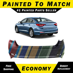 New Painted To Match Rear Bumper Replacement For 2015 2017 Hyundai Sonata 15 17