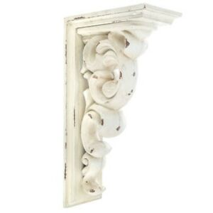 Antique Set Of 2 Corbel Wall Brackets Large Distressed White Wood Corbels