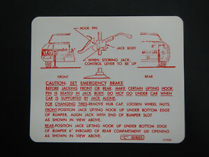 1966 Buick Wildcat Electra Lesabre Trunk Bumper Jack Instructions Decal 66 New