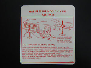 1965 Buick Riviera Trunk Bumper Jack Instructions Decal 65 New Instruction