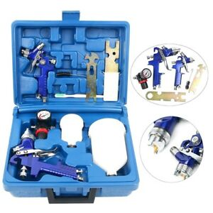 0 8 1 4 Nozzle Paint Base Primer Hvlp 2 spray Guns Kit Gauge Auto Gravity Feed