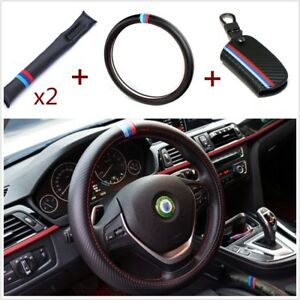 M colored Car Steering Wheel Cover 2x Seat Gap Filler Pad key Holder Bag For Bmw