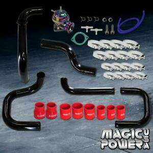 Black Intercooler Piping neo Chrome Rs Bov Red Couplers Kit For 1996 2000 Civic