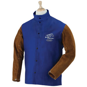 Revco Industries Frb9 30c bs m Fr Cotton cowhide Welding Jacket Blue Medium