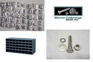 2715 Pc Coarse Stainless Bolt Nut flat Lock Washer Assortment W 40 Hole Bin