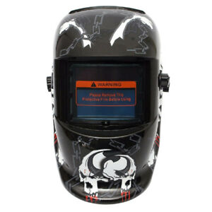 Auto Darkening Welding Helmet Mask Uv ir Filter Shade Black Skull Pattern F