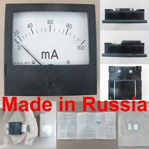0 100ma Ac Ammeter E377 x Russian Analog Panel Amp Meter 120 120mm Current Gauge